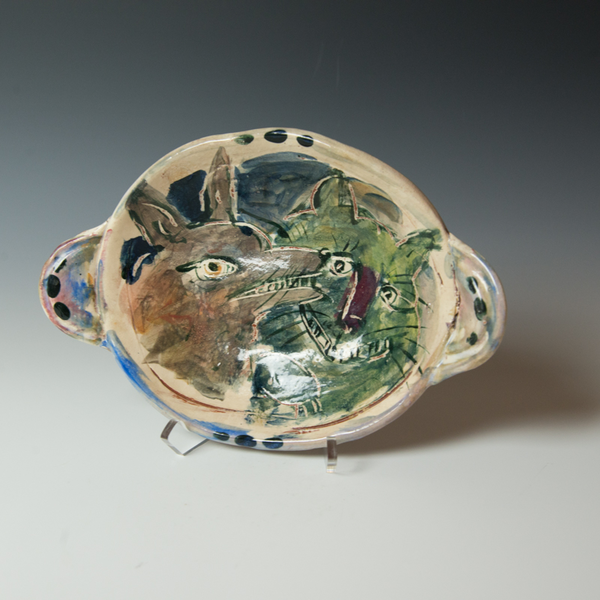 """Ron Meyers Ron Meyers, Oval Bowl with Dog & Cat, 2.5 x 11.75 x 8"""" dia."""