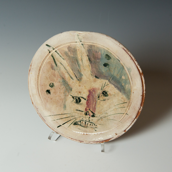 """Ron Meyers Ron Meyers, Small Plate with Rabbit, 1 x 9"""""""