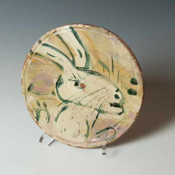 """Ron Meyers Ron Meyers, Small Plate with Rabbit, 1 x 8"""""""