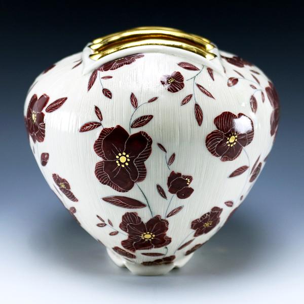 """Stephanie Wilhelm Stephanie Wilhelm, Maroon Flower Brick, porcelain, gold luster, 6.5 x 7.5 x 6.75"""""""