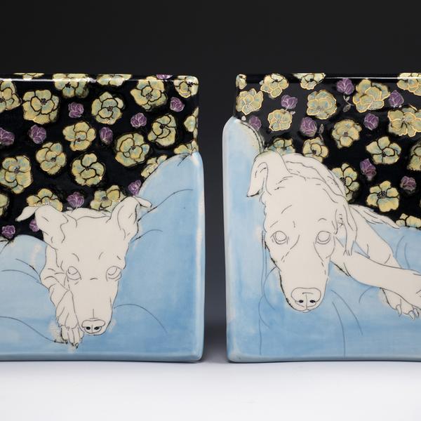 "Stephanie Wilhelm Stephanie Wilhelm, Blue & Gold Floral I, porcelain, gold luster, 7 x 7"""