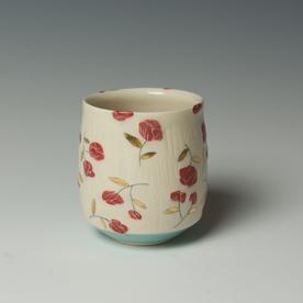 """Stephanie Wilhelm Stephanie Wilhelm, Rose Bud Yunomi, porcelain, gold luster, 3 x 3.5"""""""