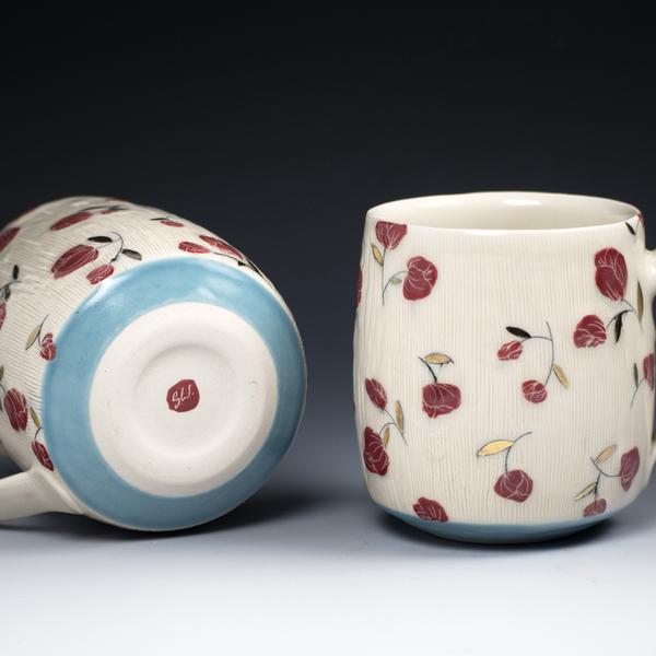 "Stephanie Wilhelm Stephanie Wilhelm, Rose Bud Mug, porcelain, gold luster, 3 x 3.5"""
