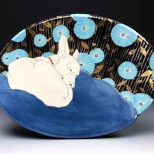 "Stephanie Wilhelm Stephanie Wilhelm, Rest in Blue & Gold, porcelain, gold luster, 7.5 x 10"""