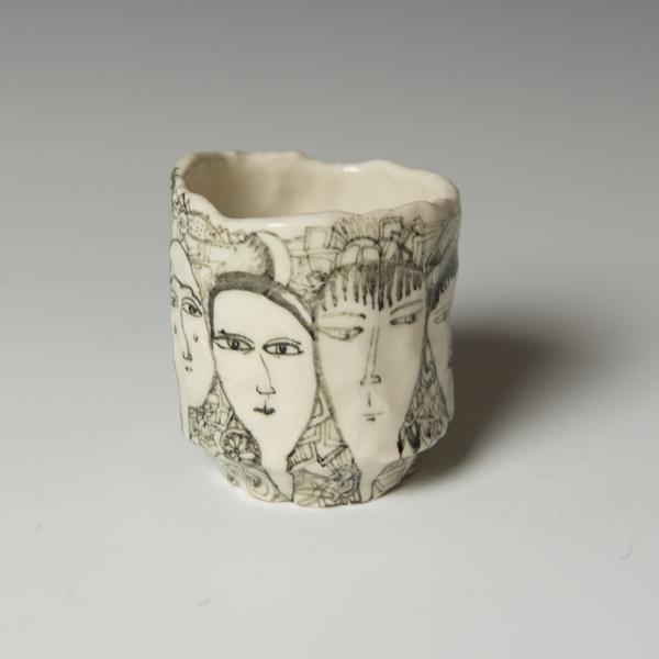 "Yeonsoo Kim Yeonsoo Kim, Pinched Cup, porcelain, 3.25 x 3"" dia."