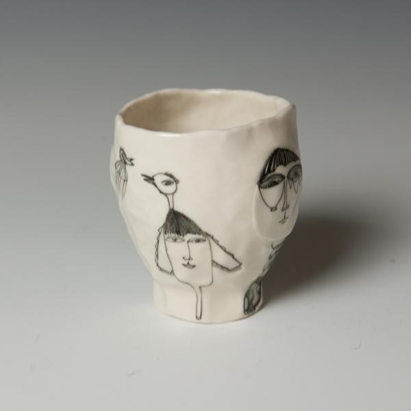 "Yeonsoo Kim Yeonsoo Kim, Pinched Cup, porcelain, 4 x 3.5"" dia."