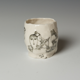 "Yeonsoo Kim Yeonsoo Kim, Pinched Cup, porcelain, 3.25 x 3.25"" dia."