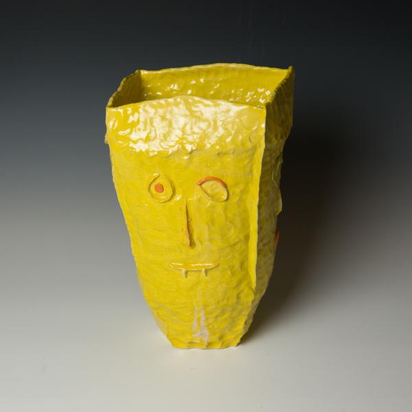 "Yeonsoo Kim Yeonsoo Kim, Yellow Square Vase, pinched, porcelain, 13.5 x 8 x 8"""
