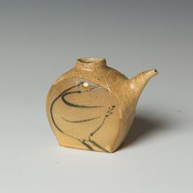 "Michael Simon Michael Simon, Soy Bottle, stoneware, glaze, slip, salt-fired, 3.5 x 4"""