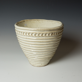 Courtney Martin Courtney Martin, White Carved Serving Bowl, stoneware, 9.25 x 10.5""