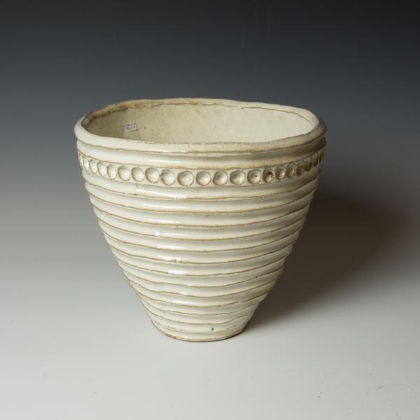 "Courtney Martin Courtney Martin, White Carved Serving Bowl, stoneware, 9.25 x 10.5"""