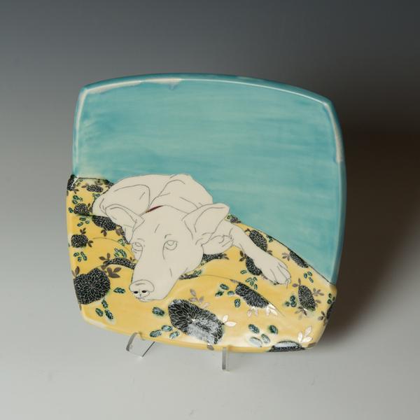 """Stephanie Wilhelm Stephanie Wilhelm, Wait in Yellow, porcelain, gold luster, 6.75 x 7 x 6.5"""""""