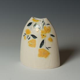 """Stephanie Wilhelm Stephanie Wilhelm, Oval Bud Vase, porcelain, gold luster, 5 x 4.5 x 2.5"""""""