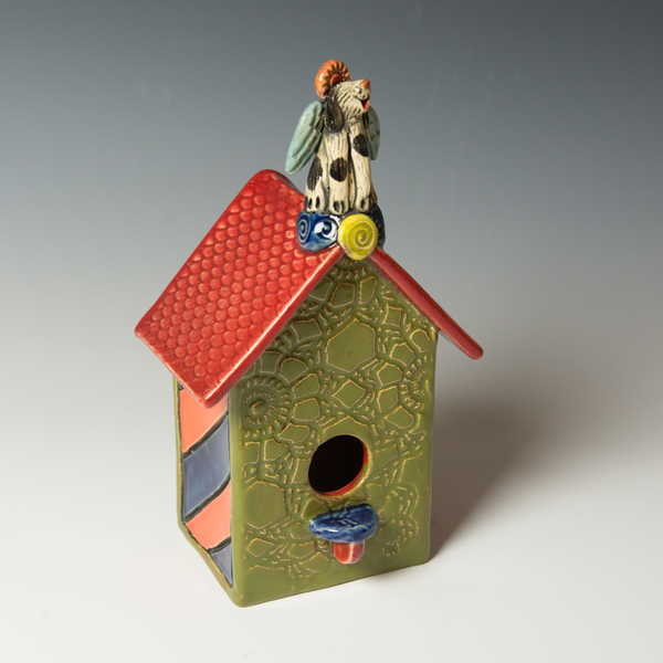 Barry Gregg Barry Gregg, Small Birdhouse with Angel Dog, handbuilt earthenware, glaze, 11 x 6 x 4.25""