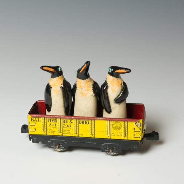 "Barry Gregg Barry Gregg, Migration Train, handbuilt earthenware, glaze, 5 x 7 x 2"""
