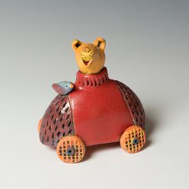 "Barry Gregg Barry Gregg, Beatnick Action Figure, handbuilt earthenware, glaze, 5 x 4.75 x 3.25"""