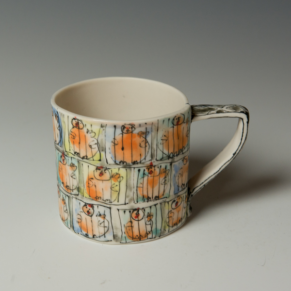 Keok (KB) Lim, Caged Chicken Mug, stoneware,  3.5 x 5 x 3.25""