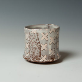 "Tessein and Ritter Grace Tessein/Dennis Ritter, Cup with Owl, earthenware, 3.25 x 3.5"" dia."