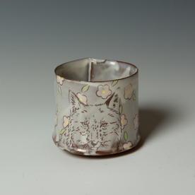 """Tessein and Ritter Grace Tessein/Dennis Ritter, Cup with Fox, earthenware, 2.75 x 3.75"""" dia."""
