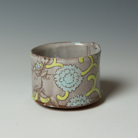 """Tessein and Ritter Grace Tessein/Dennis Ritter, Cup with Moose, earthenware, 3.25 x 3.75"""" dia."""