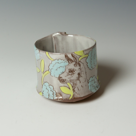 "Tessein and Ritter Grace Tessein/Dennis Ritter, Cup with Alpaca, earthenware, 3.25 x 3.75"" dia."