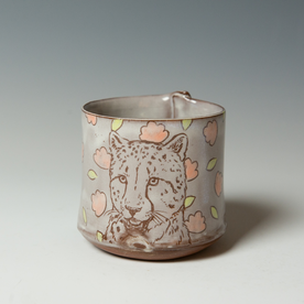 "Tessein and Ritter Grace Tessein/Dennis Ritter, Cup with Cheetah, earthenware, 3.25 x 3.5"" dia."