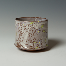 """Tessein and Ritter Grace Tessein/Dennis Ritter, Cup with Tiger, earthenware, 3.25 x 3.5"""" dia."""