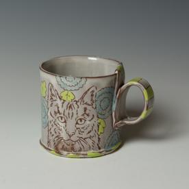 "Tessein and Ritter Grace Tessein/Dennis Ritter, Mug with Cat, earthenware, 3.25 x 4.25 x 3.25"""