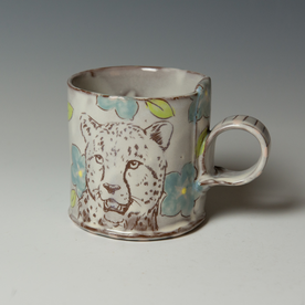 "Tessein and Ritter Grace Tessein/Dennis Ritter, Mug with Cheetah, earthenware, 3.5 x 4.75 x 3.5"""