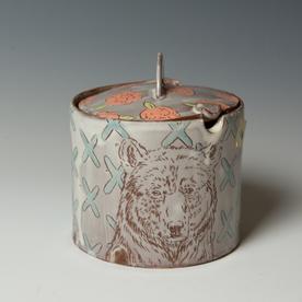 "Tessein and Ritter Grace Tessein/Dennis Ritter, Lidded Jar with Bear, earthenware, 5.5 x 4.75"" dia."