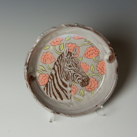 "Tessein and Ritter Grace Tessein/Dennis Ritter, Plate with Zebra, earthenware, 1.75 x 8"" dia."