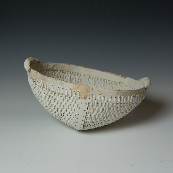 Maggie Jaszczak Maggie Jaszczak, White Basket, leather, wood, milk paint, nails, 6.75 x 13.5 x 13""