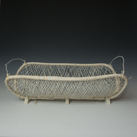Maggie Jaszczak Maggie Jaszczak, Triangle Basket, leather, wood, milk paint, nails, 10.75 x 24.25 x 12.5""
