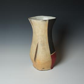 Tom Jaszczak Tom Jaszczak, Diamond Vase, soda-fired earthenware, slip, underglaze
