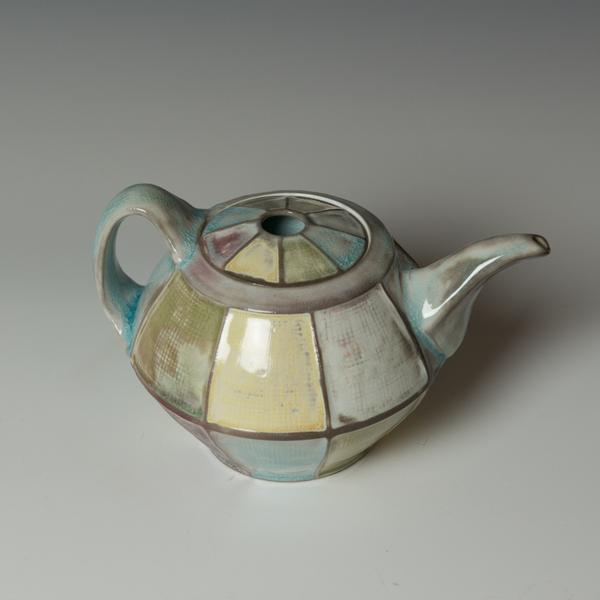 "Kenyon Hansen Kenyon Hansen, Teapot, porcelain, glaze, 5.75 x 8.5 x 6"""