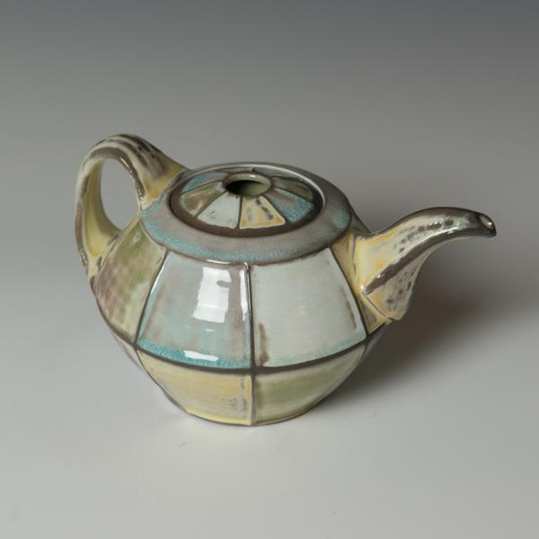 "Kenyon Hansen Kenyon Hansen, Teapot, porcelain, glaze, 5.5 x 8.5 x 6.25"""