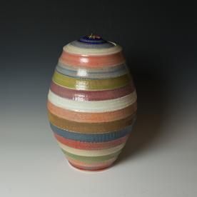 "Kenyon Hansen Kenyon Hansen, Covered Jar w/Stripes, salt fired stoneware, 19 x 10.75"" dia."