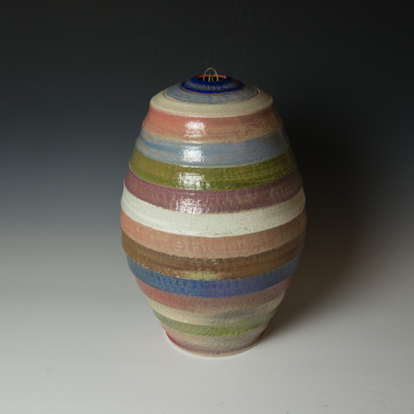 "Kenyon Hansen Kenyon Hansen, Covered Jar w/Stripes, salt fired stoneware, 19 x 10.75"" dia."