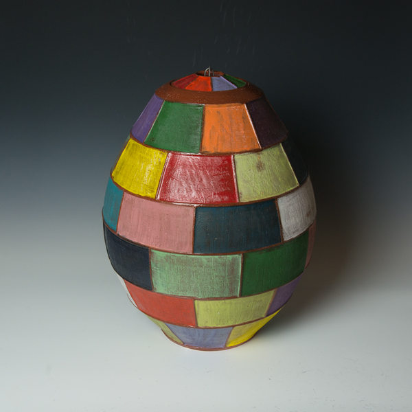"Kenyon Hansen Kenyon Hansen, Multi-Colored Jar, earthenware, 20.5 x 12.75"" dia."