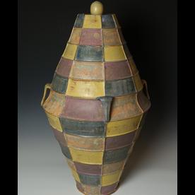 """Kenyon Hansen Kenyon Hansen, Covered Jar, earthenware, 33 x 15.75"""""""