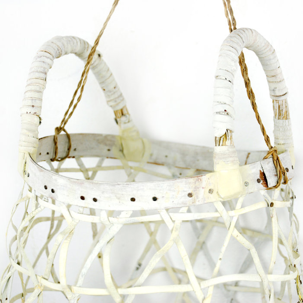 Maggie Jaszczak Maggie Jaszczak, Hanging Basket, leather, wood, milk paint, nails, 12 x 10.75 x 10""