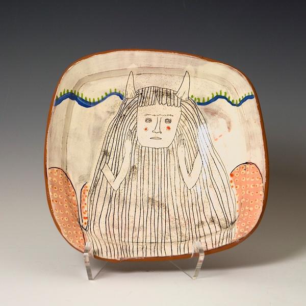 "Lynne Hobaica Lynne Hobaica, Square Bowl w/Long Hair, earthenware, glaze, 2.25 x 9 x 9"""