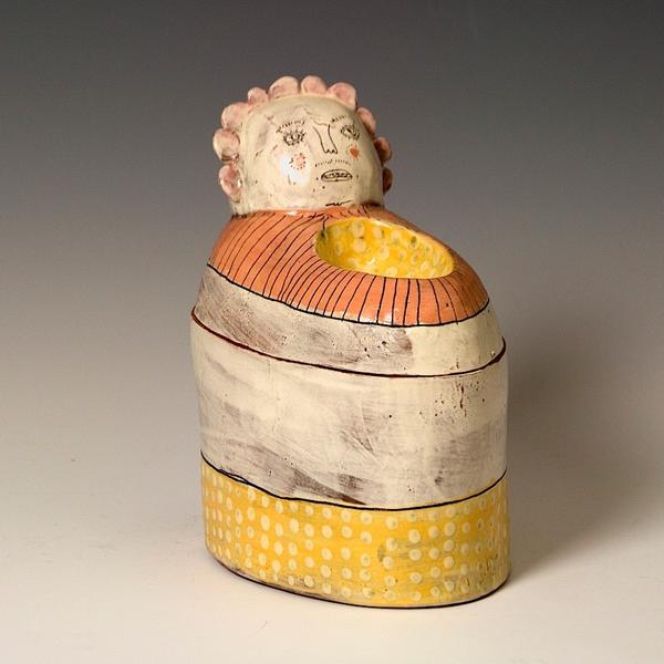 """Lynne Hobaica Lynne Hobaica, Jar w/Dish, earthenware, glaze, 6.75 x 4 x 5.5"""""""