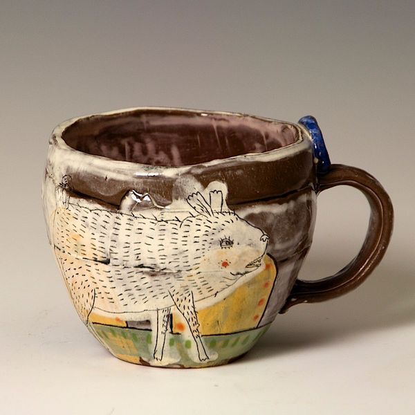 "Lynne Hobaica Lynne Hobaica, Mug w/Crumpet, earthenware, glaze, 3.5 x 5.25 x 4.25"""