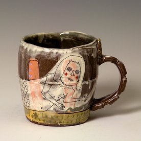 "Lynne Hobaica Lynne Hobaica, Mug w/Mermaid, earthenware, glaze, 3.75 x 4.75 x 3.75"""