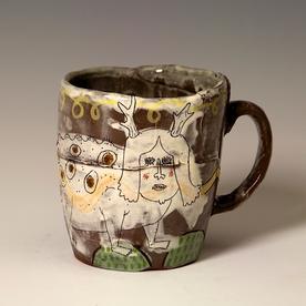 """Lynne Hobaica Lynne Hobaica, Mug w/Antlers, earthenware, glaze, 4 x 4.75 x 3.5"""""""