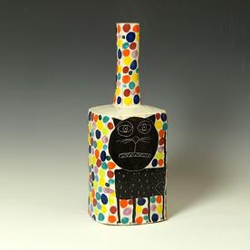"Kurt Anderson Kurt Anderson, Mallet Vase w/Cat, stoneware, 14 x 5.5 x 5.25"""
