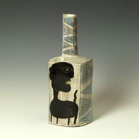 "Kurt Anderson Kurt Anderson, Mallet Vase w/Dog, stoneware, 11.25 x 4.5 x 4.25"""