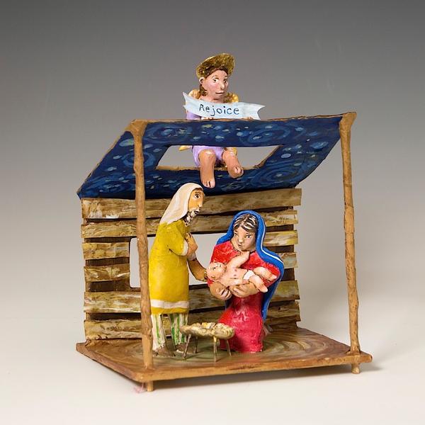 "Linda Hall Linda Hall, Small Nativity, papier-mâché, mixed-media, 8.5 x 6.75 x 4.75"""