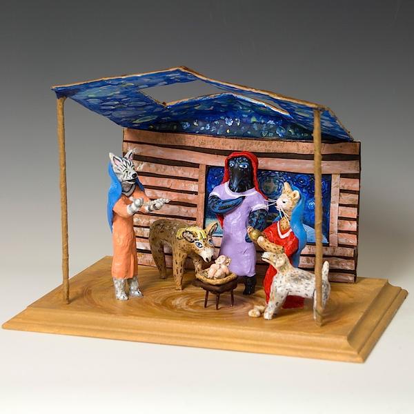 "Linda Hall, Large Nativity, papier-mâché, mixed-media, 10.5 x 14 x 11"""
